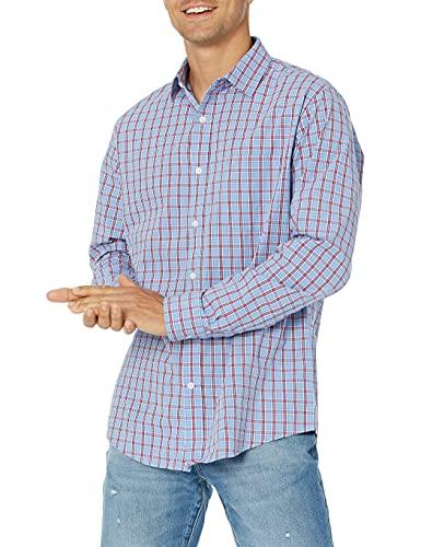 Amazon Essentials Herrenhemd, regulärer Schnitt, langärmlig, Popeline, Red/Blue Plaid, Large