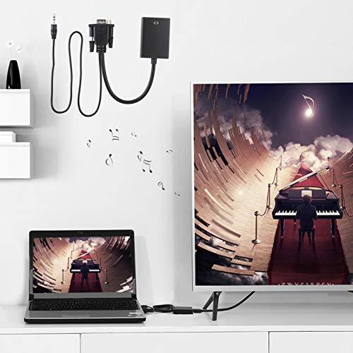 Shipenophy Práctico Cable convertidor de Cable de computadora a TV Cómodo convertidor de VGA a HDMI Cable convertidor de VGA a HDMI Durable para HDTV para PC para proyector