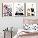 YDGG Mode Taschen Parfüm Mädchen Bücher Wandkunst