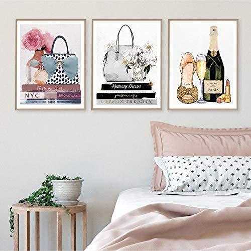 Moda nordica Borse Profumo Ragazze Libri Arte della Parete Pittura su Tela Parigi Poster e Stampe Immagini da Parete per Soggiorno Decor-40x60cmx3 (Senza Cornice)