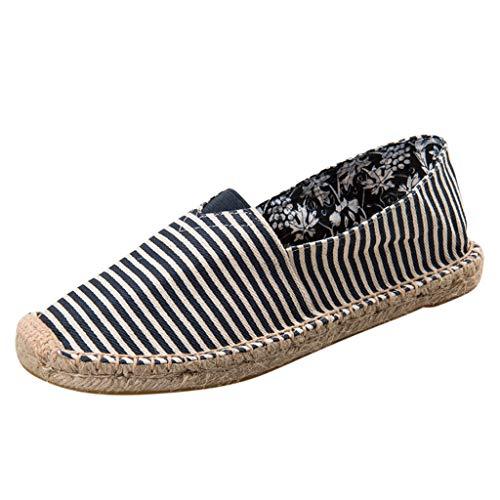 Damen Slip On Schuhe, Classic Slip On Canvas Wohnungen Casual Walking Soft Loafers Leinenschuhe Strohschuhe Hanf Seil Fischer Schuhe Leinwand Faule Schuhe Wanderschuhe