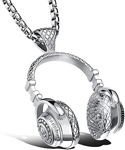 Music silver Pendant Rocker Necklace Jewelry Hiphop Headphones with 24in chain product image