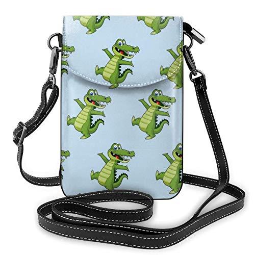 Damen-Geldbörse aus weichem PU-Leder mit Alligator-Muster, kleine Umhängetasche für Reisen, Einkaufen, Arbeiten