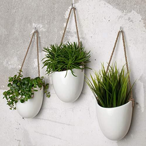 Kazai.® | Set de 3 floreros de cerámica | Blanco Brillante