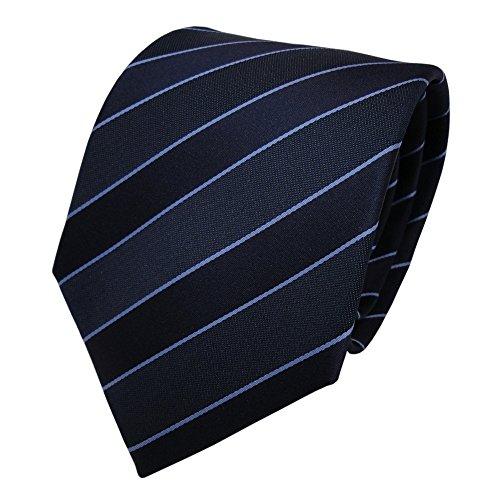 TigerTie Designer Krawatte - Schlips Binder blau dunkelblau gestreift - Tie