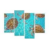 WDDHOME 4 Piezas Pinturas sobre Lienzo Arte de la Pared Tortugas Riviera Maya Fotomount On Caribbean Decoración de la Pared Arte Sin Marco Sala de Estar Oficina Hotel Decoración del hogar Regalo