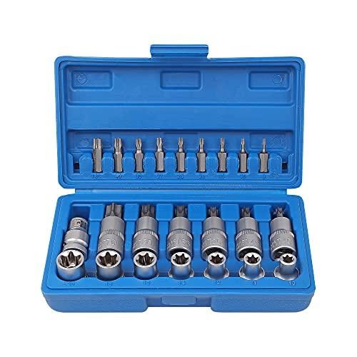 23pcs Star Torx Socket Kit de brocas de destornillador Juego de brocas de destornillador de trinquete 1/2'Llave hexagonal de acero al cromo vanadio