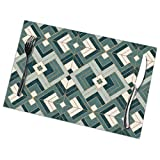 N/A Place Mats,Dining Table Placemats Sets of 6 Heat Resistant Washable Kitchen Table Mats,Lennox Vintage Deco Teal Cream Pattern