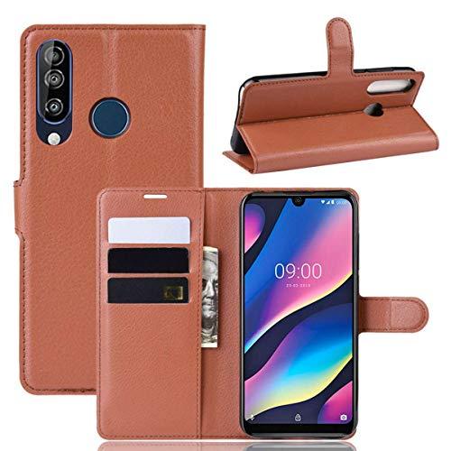 pinlu® PU Leder Tasche Handyhülle Für Wiko View 3 Smartphone Wallet Hülle Mit Standfunktion & Kartenfach Design Hochwertige Ledertextur braun