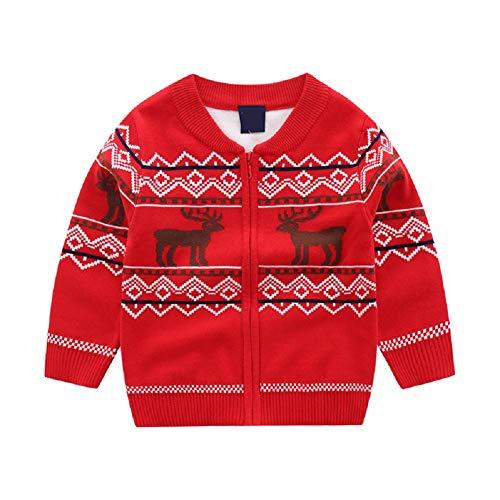 Natashas Baby Kinder Mädchen Jungen Sweatshrits Strickjacke Strickpulli Herbst-Frühling Reißverschluss Cardigan PulloverJacke Weihnachtshirsch Sweater (Rot, 98-104)