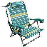 Rainbow Beach Chair, Sedia Pieghevole per Spiaggia, Giardino, Campeggio (1 unità, Strisce gialle e azzurre)