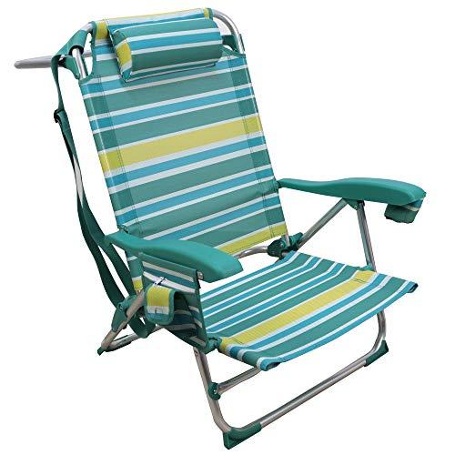 Arcoiris Silla Playera, 1 Unidad, 5 Posiciones, Silla Plegable para Playa, Jadín, Camping (1 Unidad, Rayas Amarillas y Azul Claro)