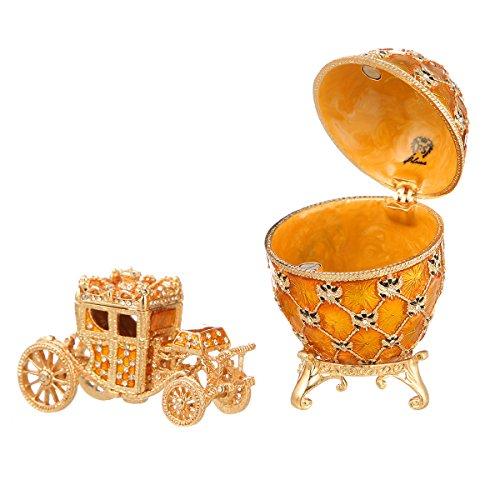 Uovo di incoronazione Russo in Stile Fabergé/portagioie con Carrozza e l'aquila Imperiale 9,5 cm Giallo
