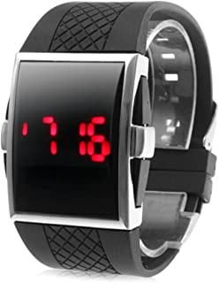 Mens Watch Red LED Digital Rectangle Dial Silicone Strap Sport Wrist Watch