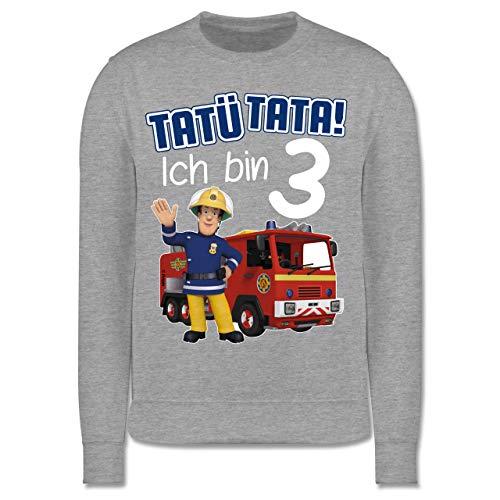 Shirtracer Feuerwehrmann Sam Mädchen - Tatü Tata! Ich Bin 3 - blau - 104 (3/4 Jahre) - Grau meliert - 384991299x - JH030K - Kinder Pullover