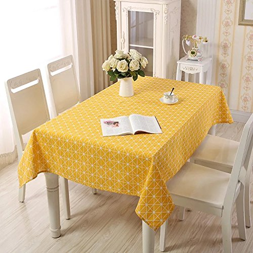 Table Covers, Lemon Hour Rectangle Dining Room Modern Tablecloth with Cotton Linen Lace, Yellow Plaid Style Dust-proof Table Cover for Kitchen Living Party Decorative, 140 x 200 Cm/ 55 x 79 Inch