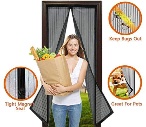 Excellentas Tür Fliegengitter magnetischer Türvorhang für Balkontür, Terassentür, etc. Moskitoschutz Insektenschutz 210 x 100 m in Schwarz