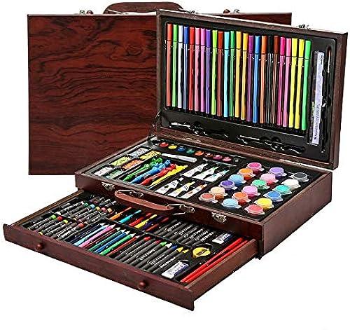 szegwh Set mit 130 Holzkistenstiften - Buntstifte, Aquarelle, Malsets, Kindergeschenke, Holzkistensets