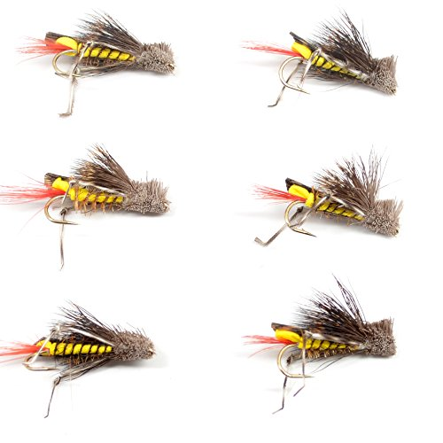 The Fly Fishing Place Dave's Hopper Trout Fly Fishing Flies - Yellow Foam Body Grasshopper Dry Fly - 6 Flies Hook Size 12