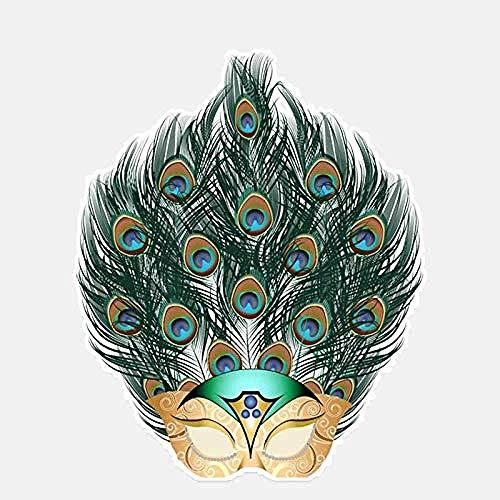 hutianyu 13X14.9Cm Mysterieuze Vogels Masker Pauw Decor Auto Sticker Accessoires Grafische Bumper Auto Venster Verwijderbare Decoratieve Accessoire 2 Stks/Set