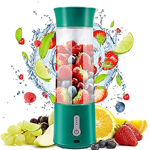 Portable Blender for Shakes and Smoothies,Anzid Rechargeable 16 Oz Travel Size Personal Blender Juicer with Six Blades 4000mAh Battery for Fruit Juice Food Process
