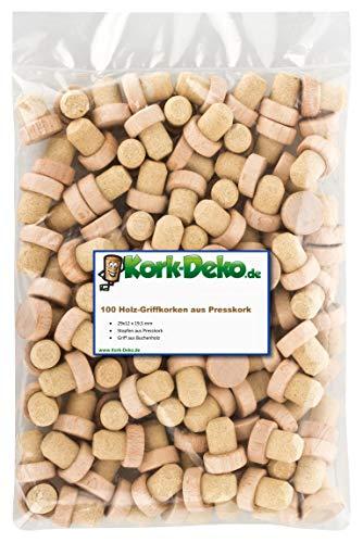 Griffkorken mit Holzgriff 19,5 mm | Holzgriffkorken | Presskork | Agglomeriert | Für Gin, Spirituosen, Öle und Saft | Kork aus Portugal | Griffgröße 29 x 12 mm (100er-Pack)