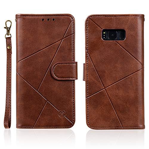 Feyyxi Hoesje voor Galaxy S8 Case met Card Slots Flip Magnetische beschermhoes Telefoonhoes voor Samsung Galaxy S8 - FEHH30296 Bruin