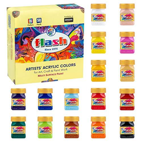 Flash Acrylic Paint Set,16 Colors (50 ml, 1.7 oz Each) Art Supplies Paint Set with Rich Pigments, Non Fading, Non Toxic Paints, Multi-Surface Paint for Artist, Hobby Painters & Kids