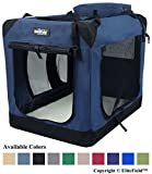 EliteField 3-Door Folding Soft Dog Crate, Indoor & Outdoor Pet Home, Multiple Sizes and Colors Available (20' L x 14' W x 14' H, Navy Blue)