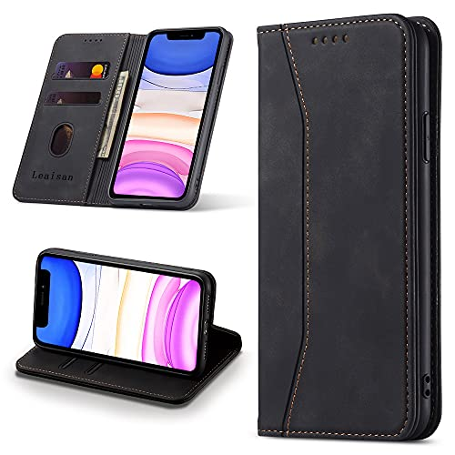Leaisan Handyhülle für iPhone 11 Hülle Premium Leder Flip Klappbare Stoßfeste Magnetische [Standfunktion] [Kartenfächern] Schutzhülle für iPhone 11 Tasche - Schwarz