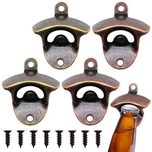 ZJW Flaschenöffner Wandmontage Wandflaschenöffner Wand Befestigt Bieroffner Bier Anbau Befestigungmaterial Bar Bier (4 Stück)
