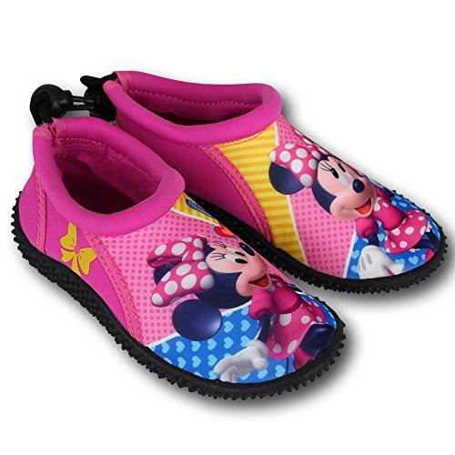 Wasserschuhe Kinder Disney Motiv- und Größenauswahl - Kinder Aquaschuhe - Badeschuhe - Strandschuhe - Surfschuhe (34, Minnie pink)