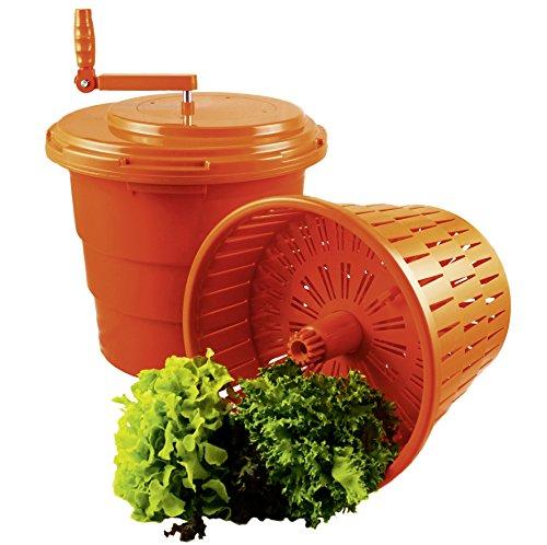 Salatschleuder mit 2 Einsätzen 25 Liter Inhalt 45 cm Ø und 50 cm Höhe Orange Profi Qualität