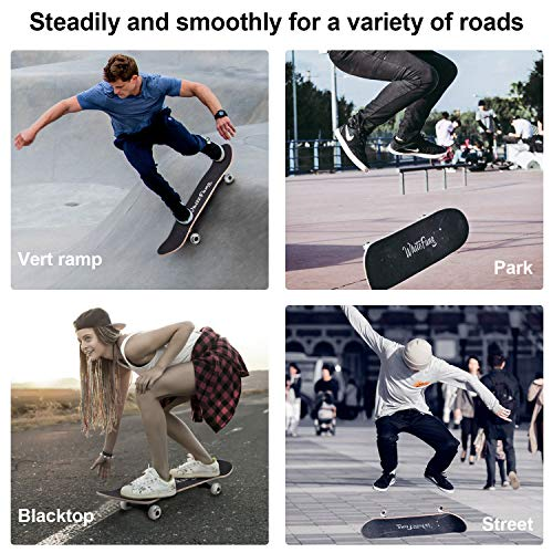 WhiteFang Skateboards 31 Inch Complete Skateboard Double Kick Skate Board 7 Layer Canadian Maple Deck Skateboard for Kids and Beginners(Check)