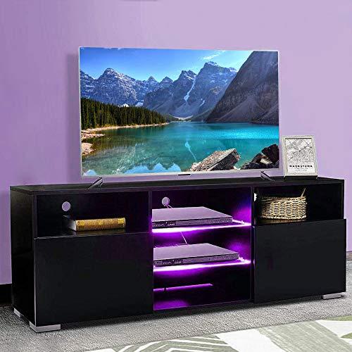 Bakaji Mobile TV in Legno con 3 Ripiani Mensole in Vetro + 2 Ante Ribalta Mobiletto Televisore con Luce a LED Cambio Colore e Telecomando Design Moderno 146 x 55 x 35 cm Colore Nero