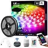LE Smart LED Strip Lights, 16.4ft RGB Color Changing LED Light Strip Works with Alexa and Google Home, App, Remote, Voice Controlled SMD 5050 LED Tape Light for Bedroom, Home, Kitchen, TV and Party