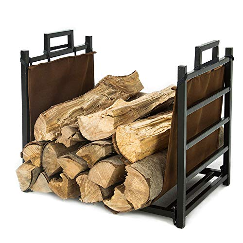 Great Deal! LITHER Small Decorative Indoor, Outdoor Firewood Storage Rack Log Rack, Black