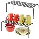 mDesign Juego de 2 estantes de cocina – Soportes para platos independientes de...
