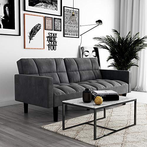 DHP Hayden Convertible Sofa Sleeper Futon with Arms - Grey Microfiber