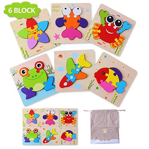 Herefun Puzzles de Madera Juguetes Bebe 1 2 3 años, Oceano Puzzles 6 Piezas, Rompecabezas de Madera Set Montessori niños Inteligencia Juguete, Regalos de Cumpleaños Navidad para niños(6 Pack) (O)