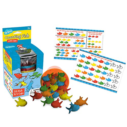 Eureka Dr. Seuss Multicolor Fish Learn to Count Math Manipulatives for Kindergarten, 55pcs