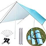 MEDOO Camping Tarps Waterproof with Poles - 10x10FT 210D Thick Fabric - Hammock Rain Fly Waterproof Tent Tarp - Perfect Hammock Accessories for Campers - UV Protection - Blue
