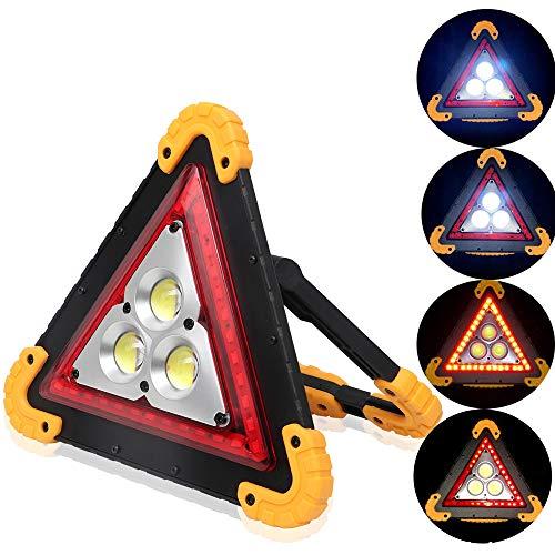 ALLOMN Lampada da Lavoro Portatile a LED, Torcia D'emergenza Spia di Traffico Triangolo COB Ricaricabile Portatile Gestire la Riparazione Dell'automobile Luce di Inondazione 30W