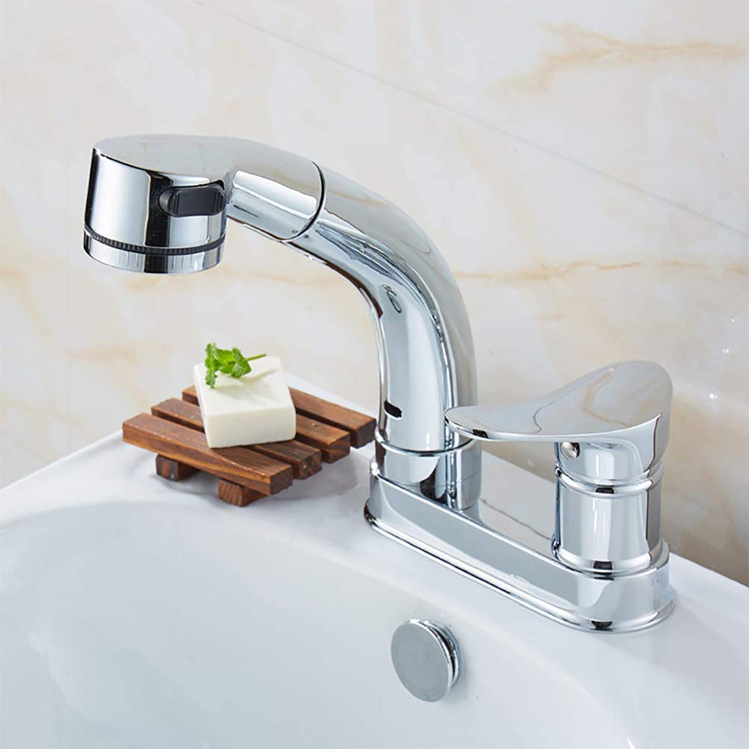 LUTAP Faucet Full Copper Body Two-hole Three-hole Pull-type Wash Basin Hot and Cold Water Can Be Raised And Lowered Retractable Shower 360 ° redating Faucet,Silver