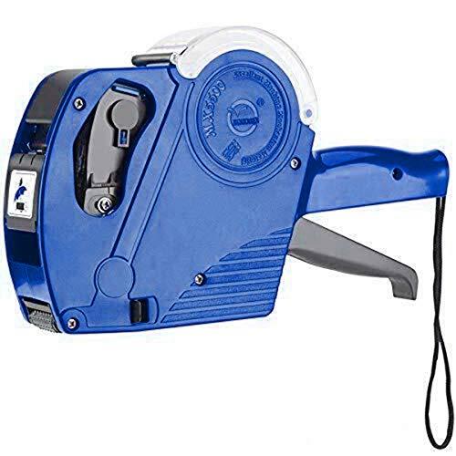YOPOTIKA 8 cifras, precio por día, pistola de una fila, etiquetadora con 5000 etiquetas y 1 rollo de tinta para oficina, comercio, tienda de alimentos, color azul