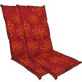 DILUMA Hochlehner Auflage Naxos für Gartenstühle 118x49 cm 2er Set Blume Rot - 6 cm Starke Stuhlauflage mit Komfortschaumkern und Bezug aus 100% Baumwolle - Made in EU mit ÖkoTex100
