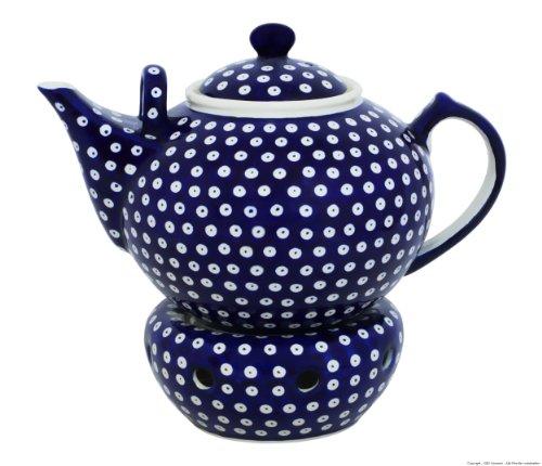 Original Bunzlauer Keramik Teekanne mit Stövchen 2.90 Liter im Dekor 42