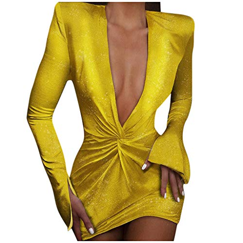 Briskorry Kleider Sexy Damen Partykleider Lange Ärmel Tiefer V-Ausschnitt Cocktailkleider Einfarbig Paket Hip Kleid Elegante Abendkleider Ballkleid Brautjungfernkleider Dress