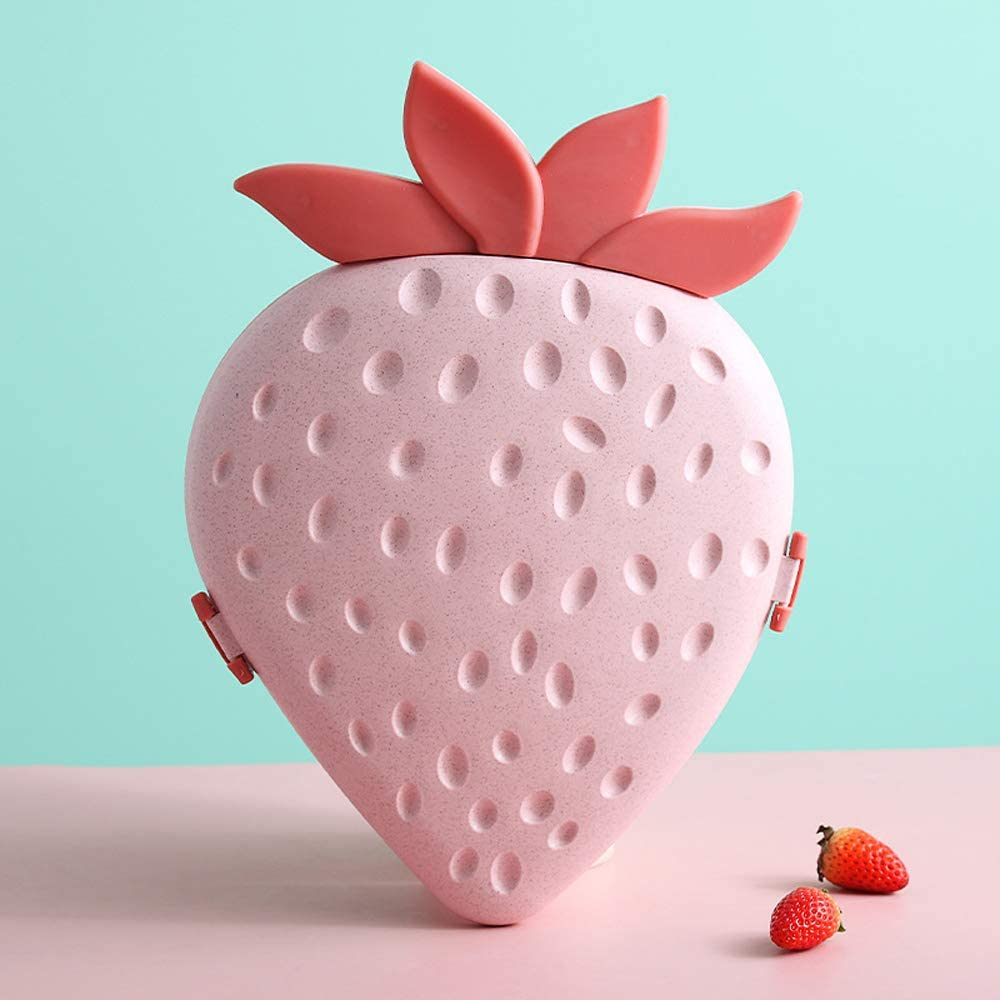 Strawberry/Apple Shaped Party Snacks Serving Tray Appetizer Plates Snack Bowls with Lid Multi Sectional Snack Bowl Trays Container Box for Storing Dried Fruits, Nuts, Candies, Fruits (Strawberry-Pink)