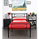 SimLife Platform Headboard and Footboard Box Spring Replacement 12 Inch Storage Twin Bed Frame 6 Legs Foundation Mattress Heavy Duty Steel Slabs Easy Assembly, Brown